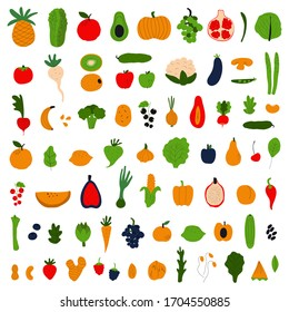Healthy food concept. Colorful big collection with fruits and vegetables. Flat vector illustration.