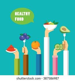 healthy food concept flat design