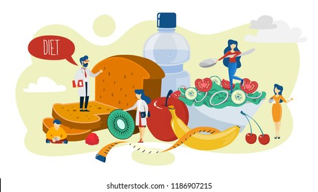 Healthy food concept. Idea of organic menu for diet and natural nutrition. Cooking using fresh ingredient. Body and health care, weight loss. Isolated flat vector illustration
