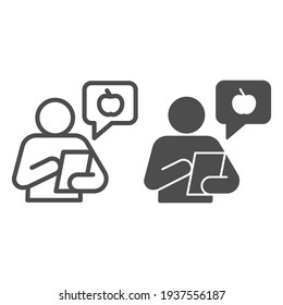 Healthy food consultant with smartphone line and solid icon, Diet concept, chat with fruit logo and person sign on white background, Online doctor consultation services icon in outline style. Vector.