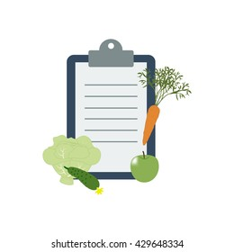 Healthy food and Diet planning, diet, food. Vector illustration