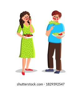 Healthy Food Eating Boy And Girl Couple Vector. Fruit And Berry, Vegetable And Salad Healthy Food Eat Young Man And Woman. Characters And Healthcare Nutrition Flat Cartoon Illustration
