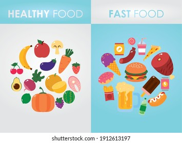 healthy food and fast food design over gray and blue background, colorful design, vector illustration