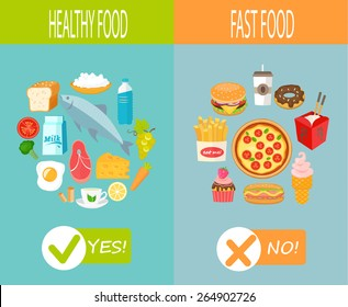 Healthy food and fast food, vector infographic.