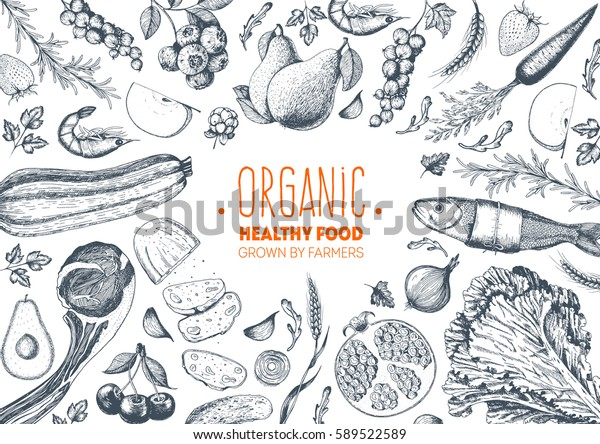 Vegetables, fruits, meat hand drawn kitchen wallpaper