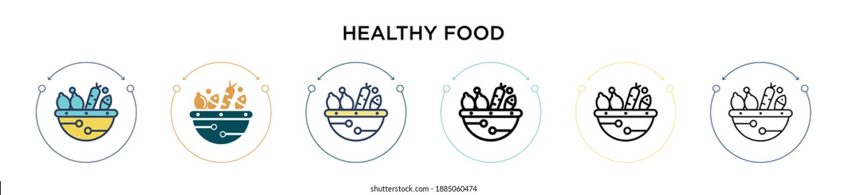Healthy food icon in filled, thin line, outline and stroke style. Vector illustration of two colored and black healthy food vector icons designs can be used for mobile, ui, web
