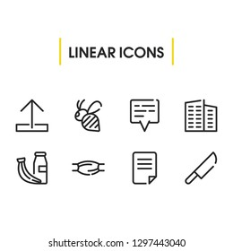 Healthy food icon with knife, document and muscle symbols. Set of arrow, position, upload icons and blade concept. Editable vector elements for logo app UI design.