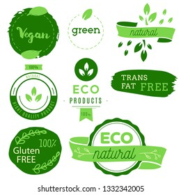 Healthy food icons, labels. Organic tags. Natural product elements. Logo for vegetarian restaurant menu. Fresh, organic, gluten free, 100% bio, premium quality, locally grown, healthy food