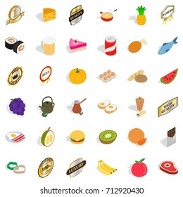 Healthy food icons set. Isometric style of 36 healthy food vector icons for web isolated on white background