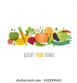 Healthy food  illustration with fruits and vegetables. Vector illustration.