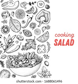 Healthy food illustration. Hand drawn sketch. Cooking salad. Vegan food. Vitamins and minerals for immunity. Engraved style. Black and white.