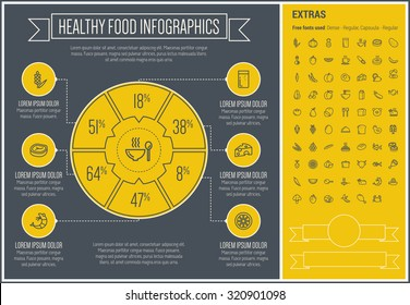 Healthy Food infographic template and elements. The template includes the following set of icons - pumpkin, pineapple, potato, grape, banana, pork, chicken and more. Modern minimalistic flat thin line