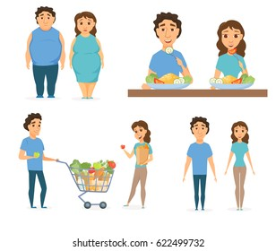 Healthy food infographics. Couple lifestyle concept. Nutrition, diet or junk eating. Smile man and women shopping. Slim and overweight fat people