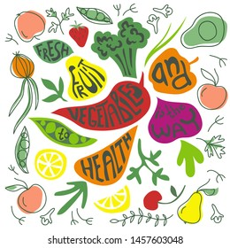 Healthy food lettering. Fresh fruits and vegetables. Poster with pear, carrot, broccoli, pepper, lemon, avocado and strawberry. Garden harvest.