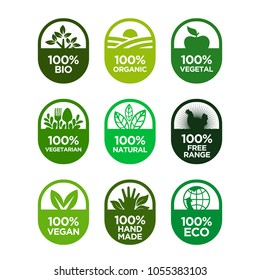 Healthy food and healthy life icons set. 100% Bio, Organic, Vegetal, Vegetarian, Natural, Free Range, Vegan, Hand Made, Eco