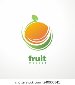 Healthy food logo design concept. Fruit and juice icon theme.