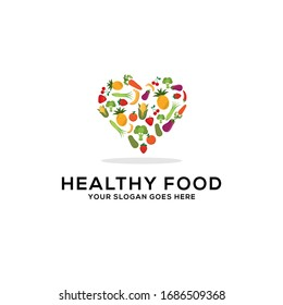 Healthy food logo design vector, fresh fruits and vegetables drawing love vegetarian abstract illustration
