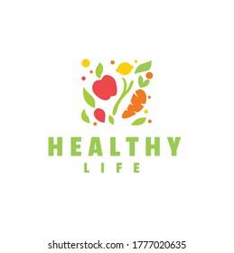 Healthy food logo icon design element
