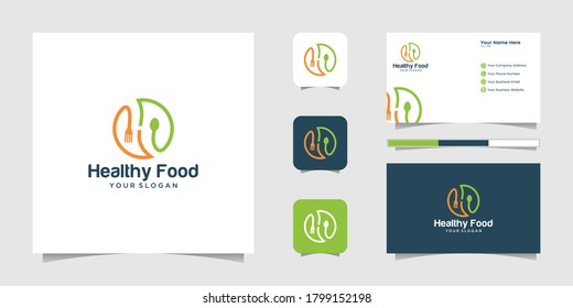 Healthy Food Logo Healthy Food Logo with negative space for spoons and forks and inspired business card
