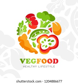Healthy food logo. Round emblem of raw vegetables. Vector icon template for vegan restaurant, diet menu, natural products, fitness club, family farm.