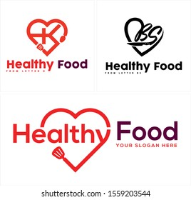Healthy food logo with spatula spoon knife and heart red black vector suitable for food drink retail restaurant shop kitchen
