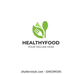 Healthy food logo template. Organic food vector design. Fork, spoon and leaves logotype