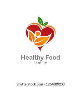 Healthy Food Logo Template Stock Vector