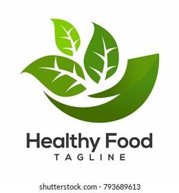 healthy food logo vector