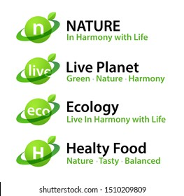Healthy Food logotypes of eco Natural Organic Products isolated on white background. Green Icon sign set with Leaf for cafe with Vegan or Vegetarian menu or web site about Healthy Lifestyle.