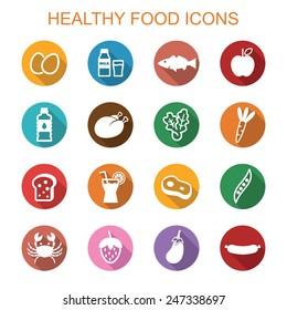 healthy food long shadow icons, flat vector symbols
