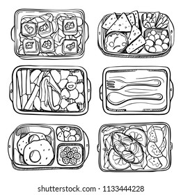 healthy food lunch box. set of food in containers