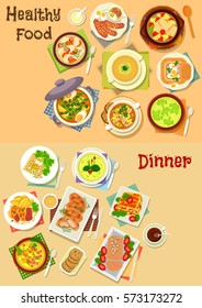 Healthy food for lunch icon set of soup with meat, fish, potato, onion, broccoli, oat and rye with egg, bacon and sausage, lasagna, pancake, chicken in potato batter, beef chop with cheese, pate