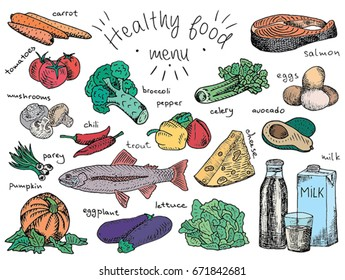 Healthy Food Drawing Images Stock Photos Vectors Shutterstock