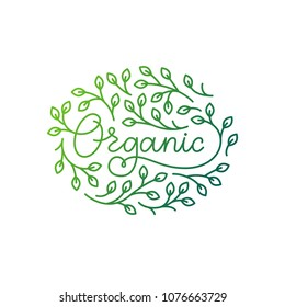 Healthy food, motivational poster or banner with hand-lettering phrase on white background.  Lettering for restaurant, cafe menu. Elements for labels, logos, badges, stickers or icons. Organic food.