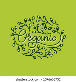 Healthy food, motivational poster or banner with hand-lettering phrase on green background.  Lettering for restaurant, cafe menu. Elements for labels, logos, badges, stickers or icons. Organic food.