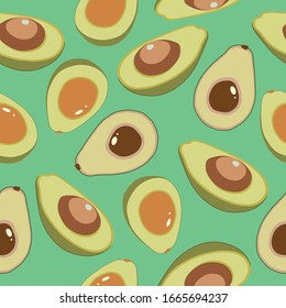 healthy food. seamless avocado pattern for textiles, prints, greeting cards, clothes, banner, wallpaper.