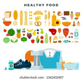 Healthy food, set. Healthy organic dietary products for dieting, weight loss, keeping fit, healthy eating. Sports nutrition. Balanced diet. Fruits, vegetables, cereals, meat, fish, milk. Vector icons.