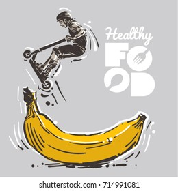Healthy food for sport. Boy on scooter makes a trick. Sketch style vector illustration