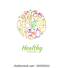 Healthy food store logo fruit and vegetable icons. Cherry and grape, vegan nutrition, lemon and corn, eggplant and banana, vector illustration