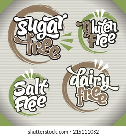 Healthy food symbols: Collection of gluten free, sugar free, dairy free and salt free signs. Various colorful designs, can be used as stamps, seals, badges, for packaging etc.