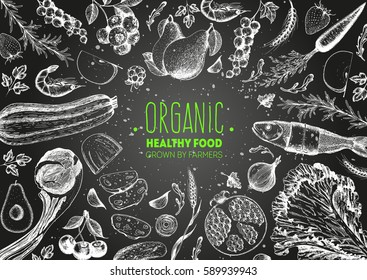 Healthy food top view frame vector illustration. Vegetables, fruits, meat hand drawn. Organic food set