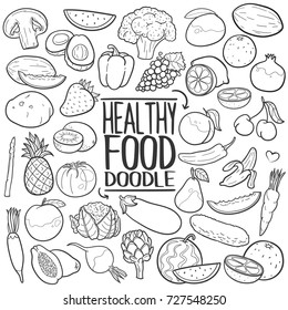 Healthy Food Traditional Doodle Icons Sketch Hand Made Design Vector
