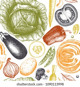 Healthy food vector background with ink hand drawn vegetables sketch. Vintage seamless pattern with fresh products. Organic food drawing. Line art. Outlines.