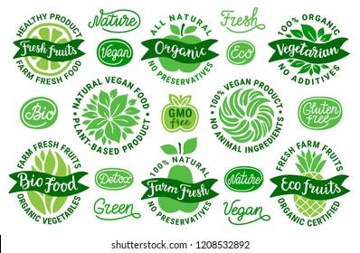 Healthy food vector sticker set.Bio,eco,green,farm fresh fruit,vegetarian,vegan,nature,detox lettering.All natural,no preservatives,animal ingredient,organic certified,plant-based product inscription