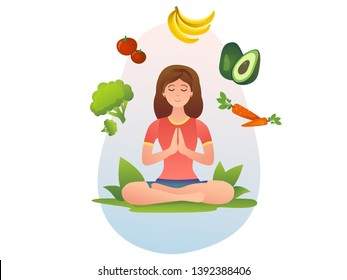Healthy food, vegan, vegetarian and yoga
