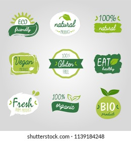 healthy food vegetable vegan logo tag bio green