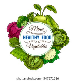 Healthy food vegetables poster of cabbage, broccoli, red cabbage, kohlrabi, chinese cabbage napa, brussels sprouts, cauliflower, bok choy, pak choi, kale. Vegetarian vegetable organic food vector menu
