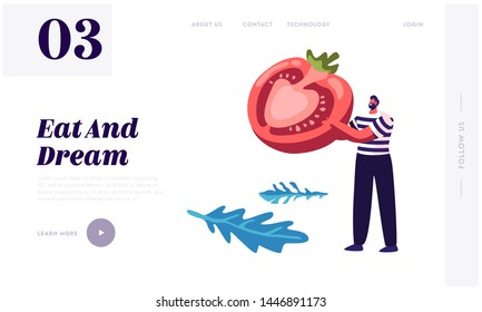 Healthy Food Website Landing Page, Man in Striped Vest Holding Half of Ripe Tomato in Hands, Pizza Ingredient, Bistro, Italian Food, Healthy Nutrition Web Page. Cartoon Flat Vector Illustration Banner