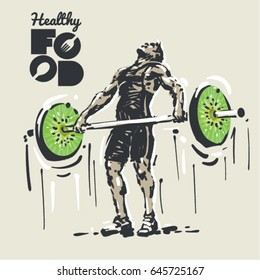 Healthy food. Weightlifting. Sketch style