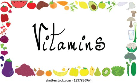 Healthy foods in frame shape. Vector graphic with colorful vegetables, fruits and other goodies.